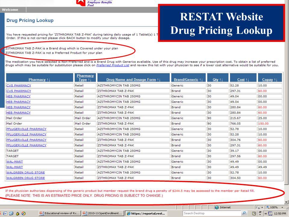 RESTAT Website Drug Pricing Lookup