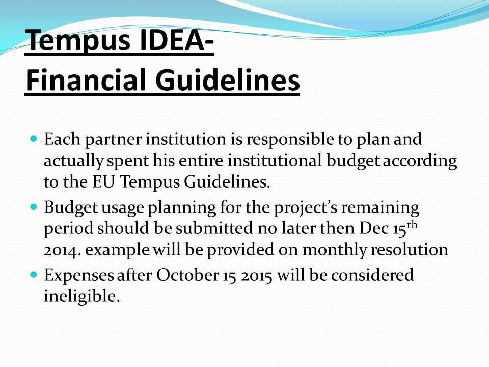 Tempus IDEA- Financial Guidelines Each partner institution is responsible to plan and actually spent his entire institutional budget according to the EU Tempus Guidelines.