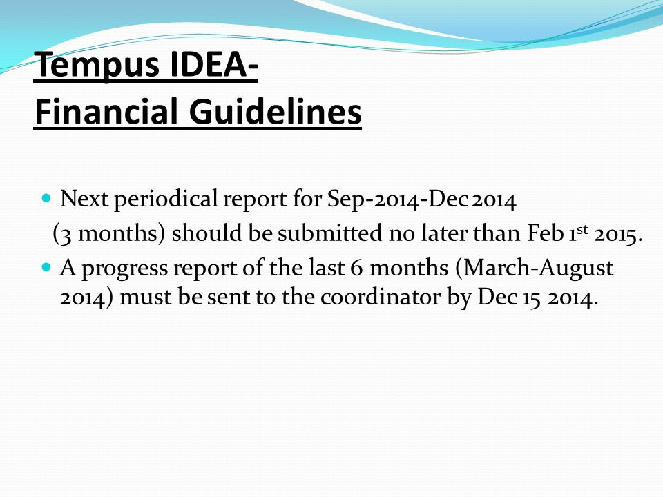 Tempus IDEA- Financial Guidelines Next periodical report for Sep-2014-Dec 2014 (3 months) should be submitted no later than Feb 1 st 2015.