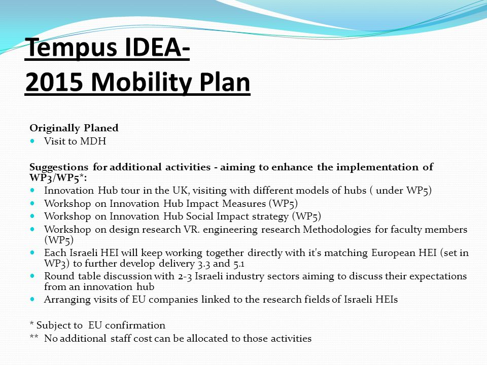 Tempus IDEA- 2015 Mobility Plan Originally Planed Visit to MDH Suggestions for additional activities - aiming to enhance the implementation of WP3/WP5*: Innovation Hub tour in the UK, visiting with different models of hubs ( under WP5) Workshop on Innovation Hub Impact Measures (WP5) Workshop on Innovation Hub Social Impact strategy (WP5) Workshop on design research VR.