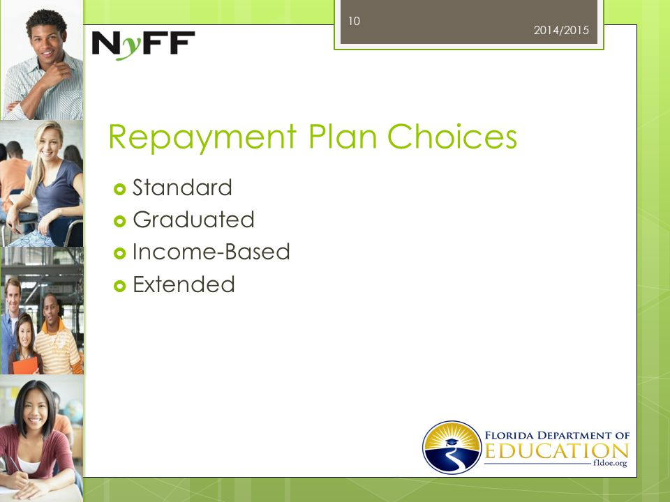 Repayment Plan Choices  Standard  Graduated  Income-Based  Extended 2014/2015 10
