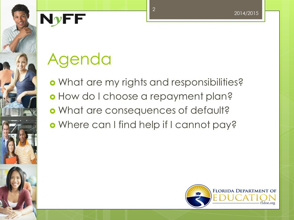 Agenda  What are my rights and responsibilities.  How do I choose a repayment plan.