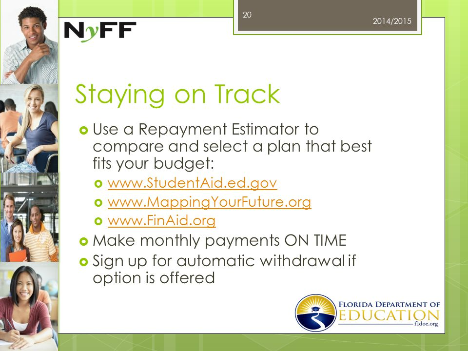 Staying on Track  Use a Repayment Estimator to compare and select a plan that best fits your budget:  www.StudentAid.ed.gov www.StudentAid.ed.gov  www.MappingYourFuture.org www.MappingYourFuture.org  www.FinAid.org www.FinAid.org  Make monthly payments ON TIME  Sign up for automatic withdrawal if option is offered 2014/2015 20