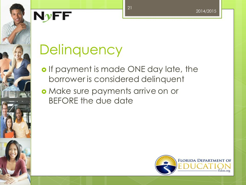 Delinquency  If payment is made ONE day late, the borrower is considered delinquent  Make sure payments arrive on or BEFORE the due date 2014/2015 21