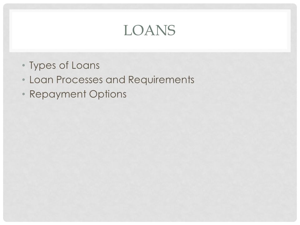 Types of Loans Loan Processes and Requirements Repayment Options
