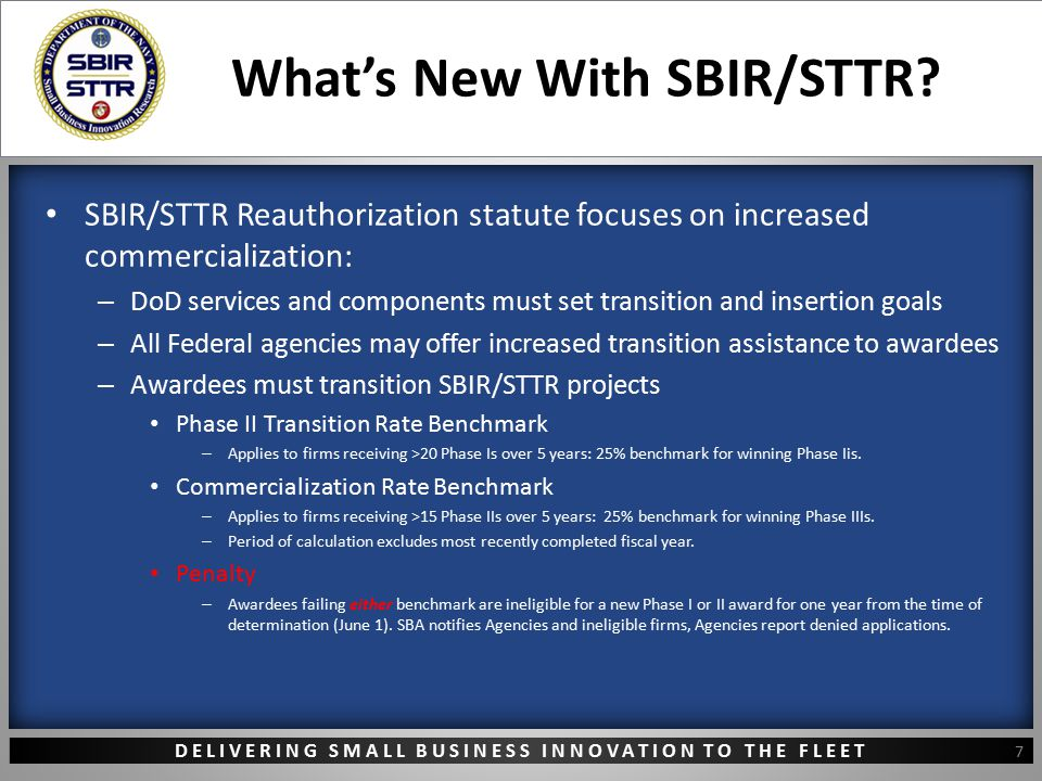 DELIVERING SMALL BUSINESS INNOVATION TO THE FLEET What's New With SBIR/STTR? SBIR/STTR Reauthorization statute focuses on increased commercialization: