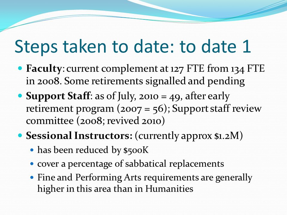Steps taken to date: to date 1 Faculty: current complement at 127 FTE from 134 FTE in 2008.