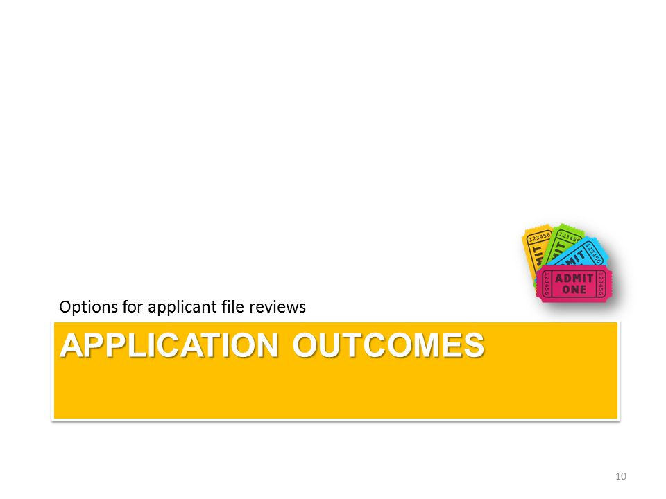 APPLICATION OUTCOMES Options for applicant file reviews 10