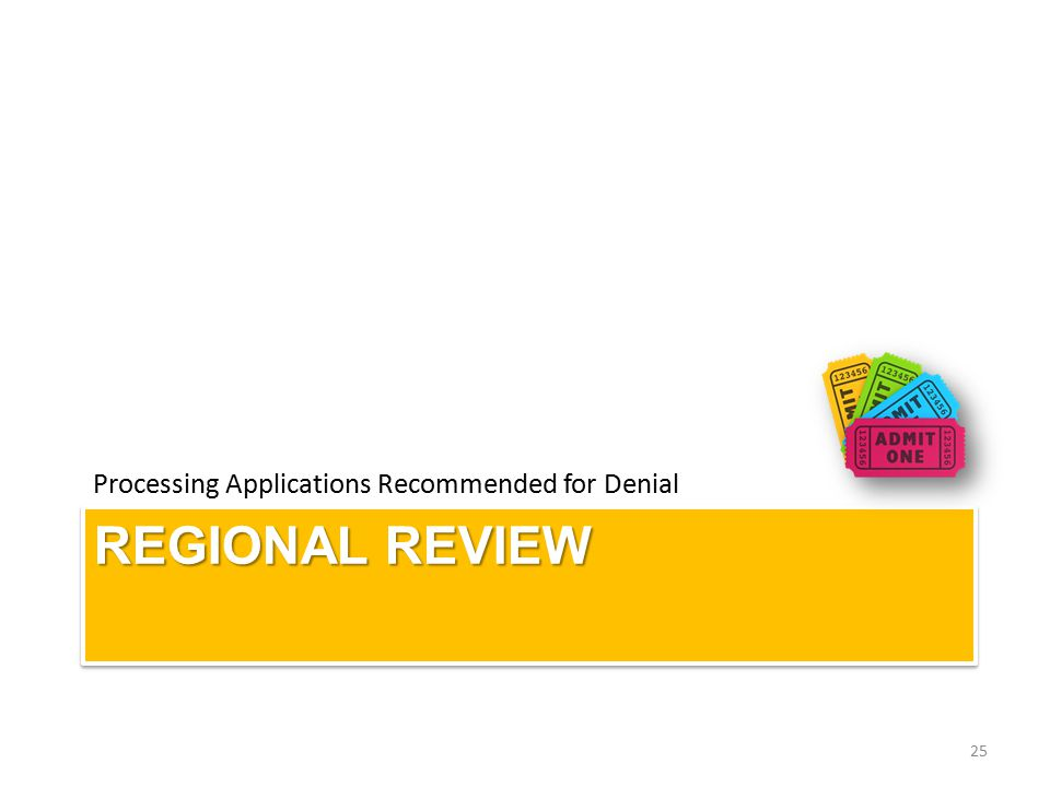 REGIONAL REVIEW Processing Applications Recommended for Denial 25