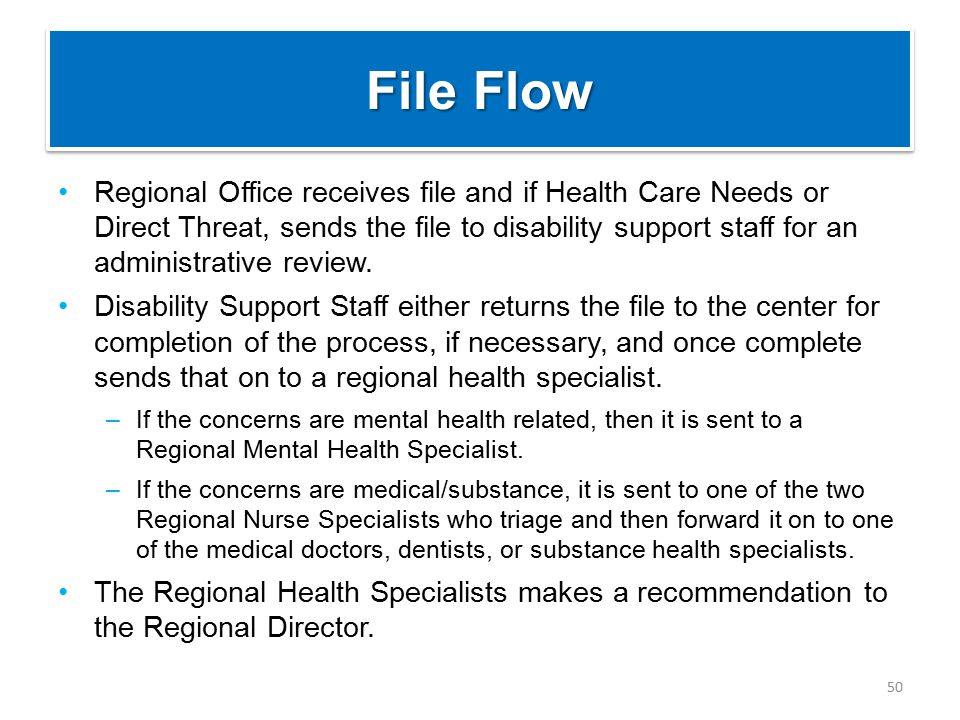 File Flow Regional Office receives file and if Health Care Needs or Direct Threat, sends the file to disability support staff for an administrative review.