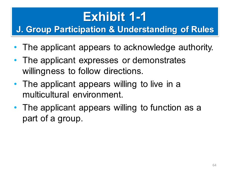 Exhibit 1-1 J. Group Participation & Understanding of Rules The applicant appears to acknowledge authority. The applicant expresses or demonstrates wi