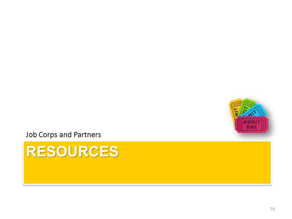 RESOURCESRESOURCES Job Corps and Partners 74