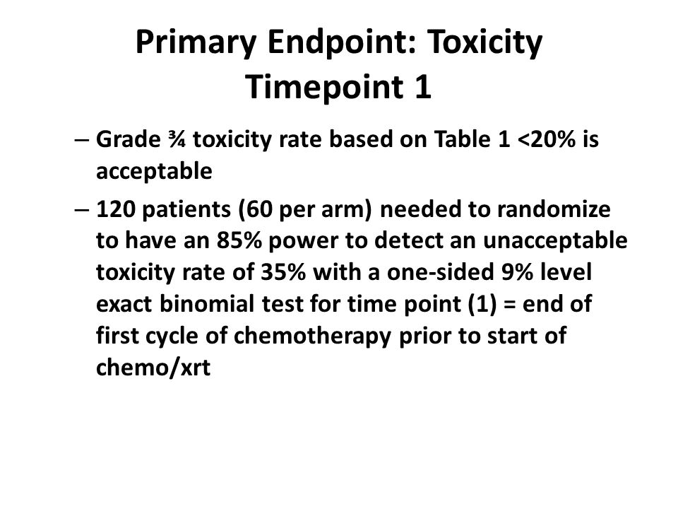 Primary Endpoint: Toxicity Timepoint 1 – Grade ¾ toxicity rate based on Table 1 <20% is acceptable – 120 patients (60 per arm) needed to randomize to have an 85% power to detect an unacceptable toxicity rate of 35% with a one-sided 9% level exact binomial test for time point (1) = end of first cycle of chemotherapy prior to start of chemo/xrt