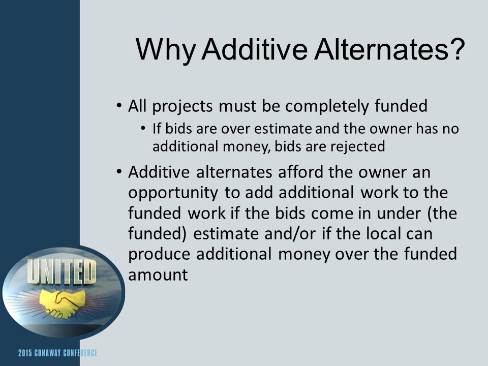 Why Additive Alternates.