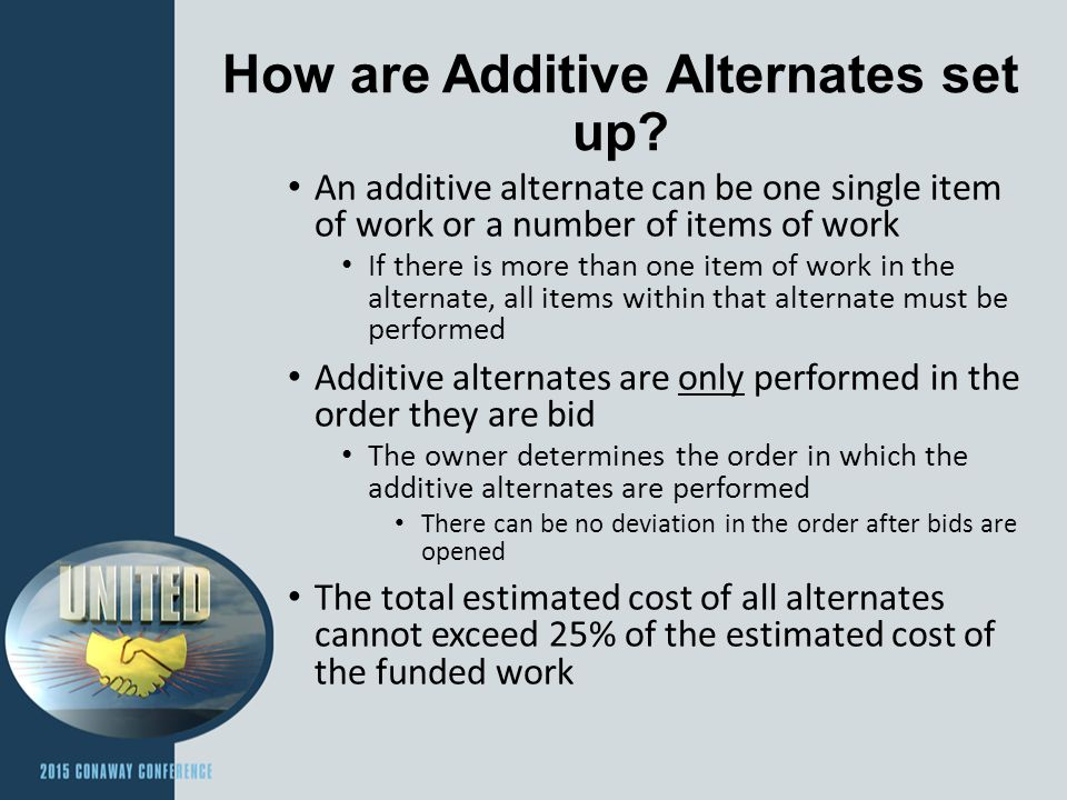 How are Additive Alternates set up.
