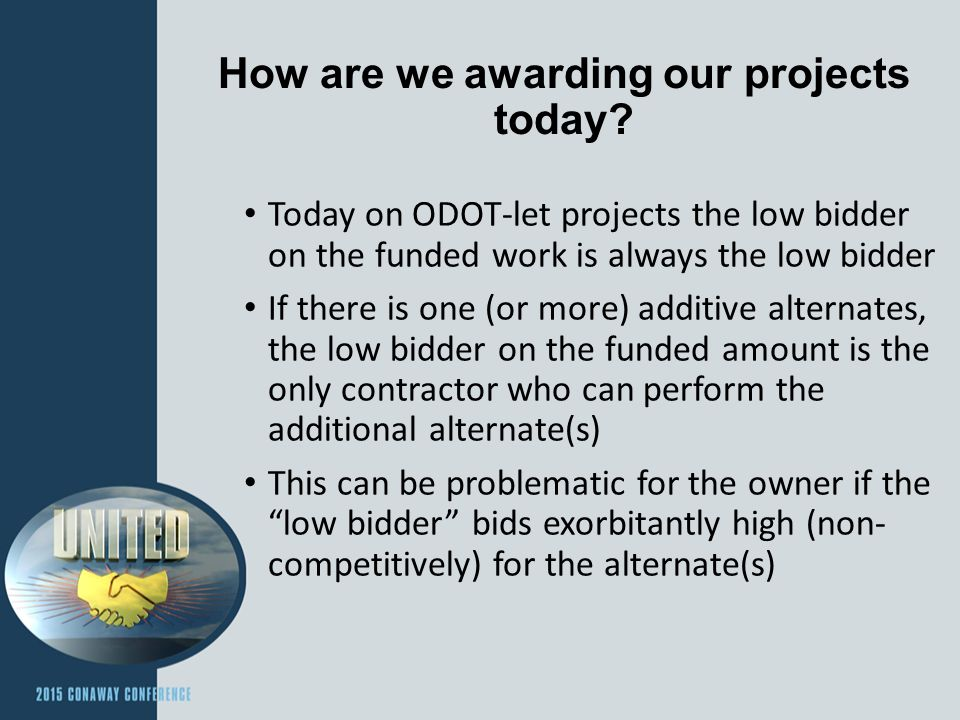 How are we awarding our projects today.