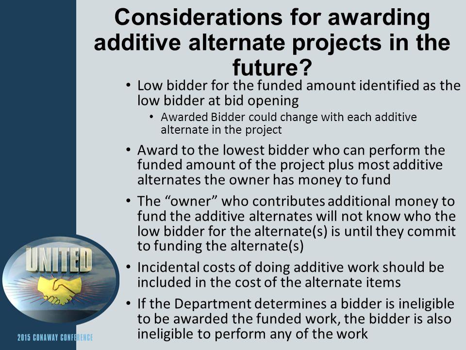 How should a contractor bid Additive Alternate Proposals.