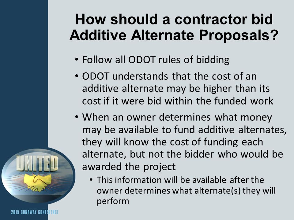 How should a contractor bid Additive Alternate Proposals.