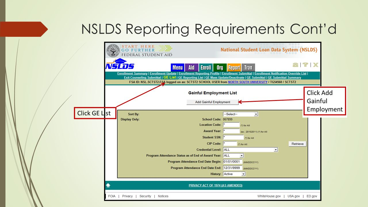 NSLDS Reporting Requirements Cont'd