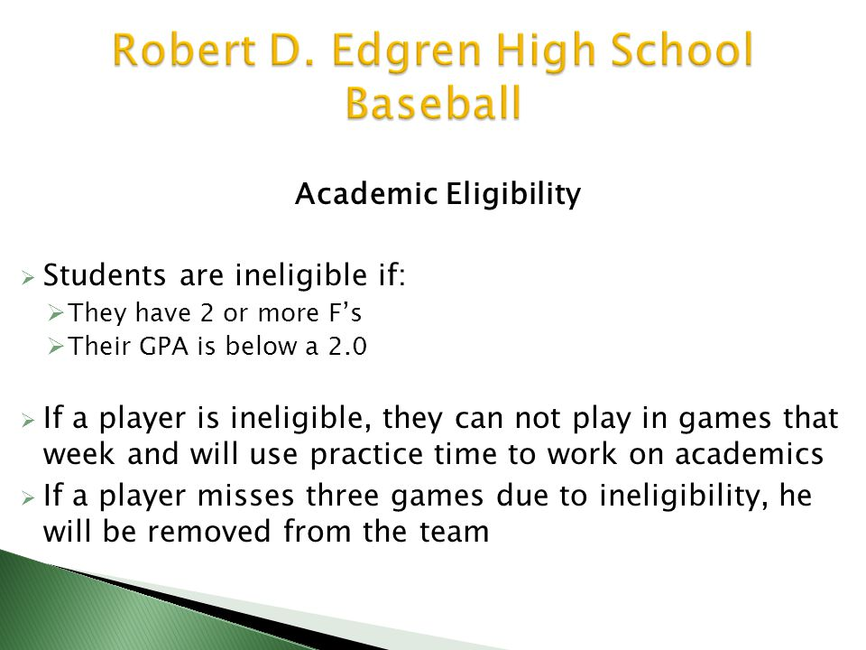 Academic Eligibility  Students are ineligible if:  They have 2 or more F's  Their GPA is below a 2.0  If a player is ineligible, they can not play in games that week and will use practice time to work on academics  If a player misses three games due to ineligibility, he will be removed from the team