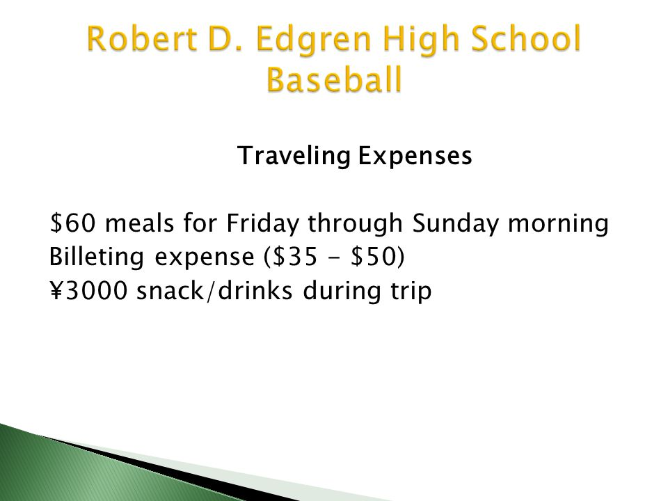 Traveling Expenses $60 meals for Friday through Sunday morning Billeting expense ($35 - $50) ¥3000 snack/drinks during trip