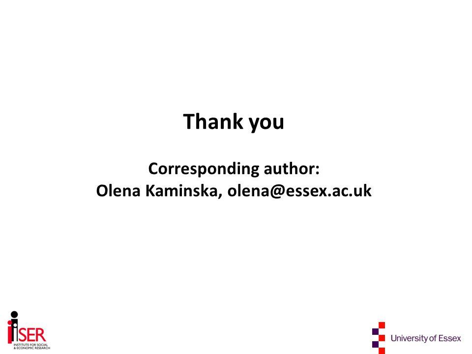 Thank you Corresponding author: Olena Kaminska, olena@essex.ac.uk
