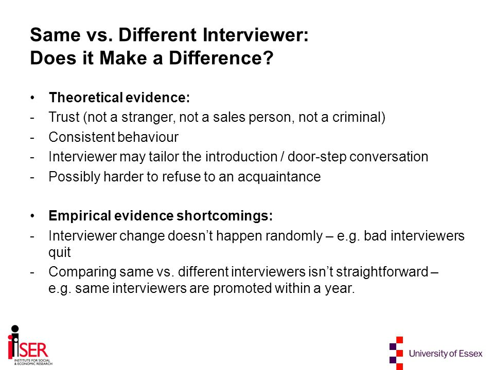 Conclusions Same interviewer performs the same or better than a different interviewer in obtaining an interview in wave 2 of the study There is no evidence that sending a different interviewer with higher grade improves the chances of obtaining an interview in comparison to keeping the same interviewer There is no evidence that changing interviewer increases attrition rate in wave 2 if a respondent was initially approached by an interviewer of low grade
