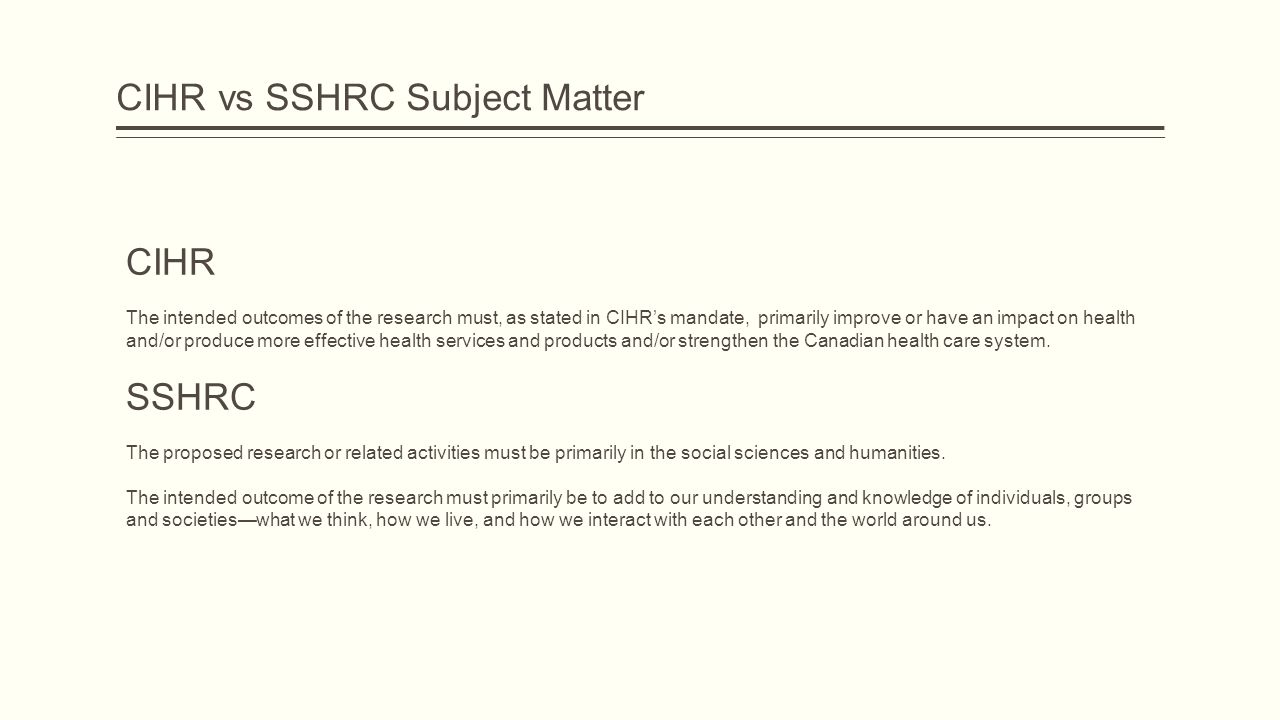 CIHR vs SSHRC Subject Matter CIHR The intended outcomes of the research must, as stated in CIHR's mandate, primarily improve or have an impact on health and/or produce more effective health services and products and/or strengthen the Canadian health care system.