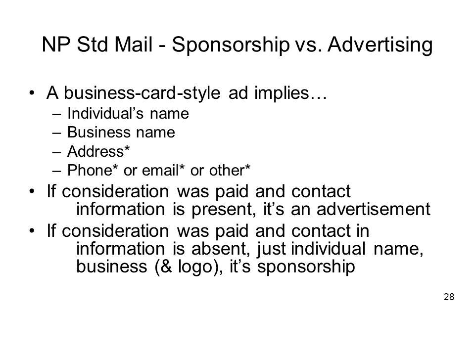 NP Std Mail - Sponsorship vs.