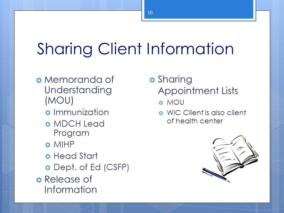 Sharing Client Information 10  Memoranda of Understanding (MOU)  Immunization  MDCH Lead Program  MIHP  Head Start  Dept. of Ed (CSFP)  Release