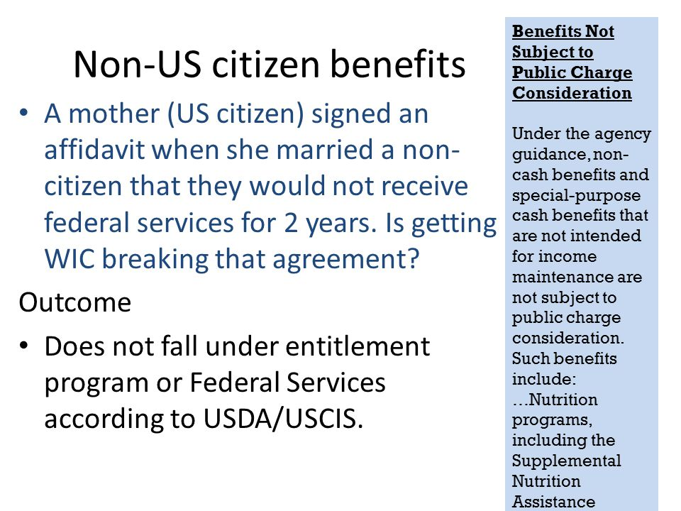 Non-US citizen benefits A mother (US citizen) signed an affidavit when she married a non- citizen that they would not receive federal services for 2 y