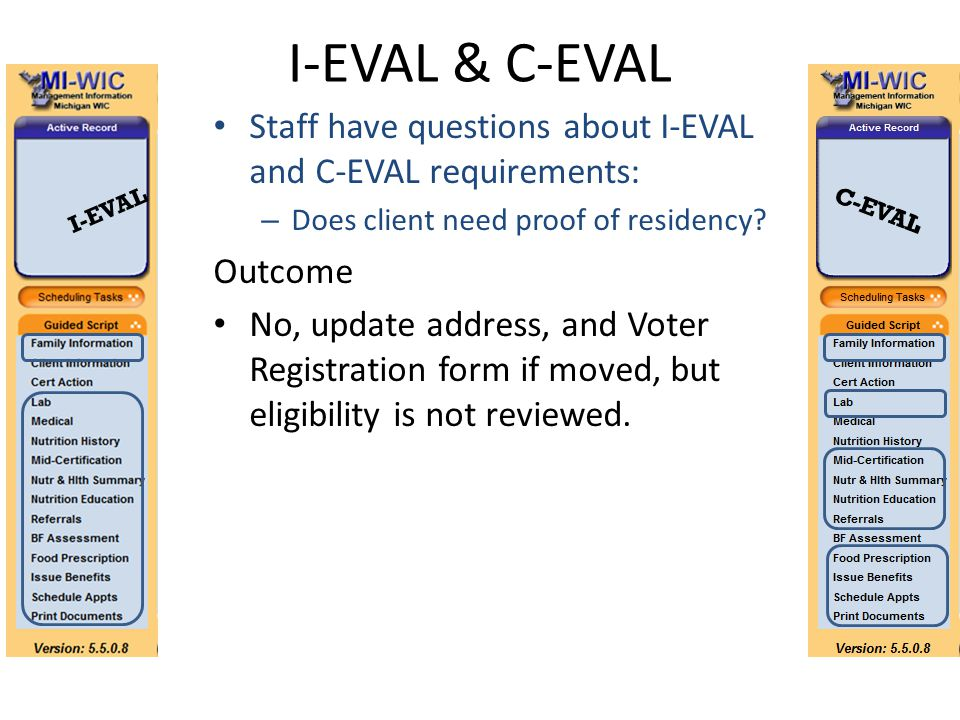 I-EVAL & C-EVAL Staff have questions about I-EVAL and C-EVAL requirements: – Does client need proof of residency? Outcome No, update address, and Vote