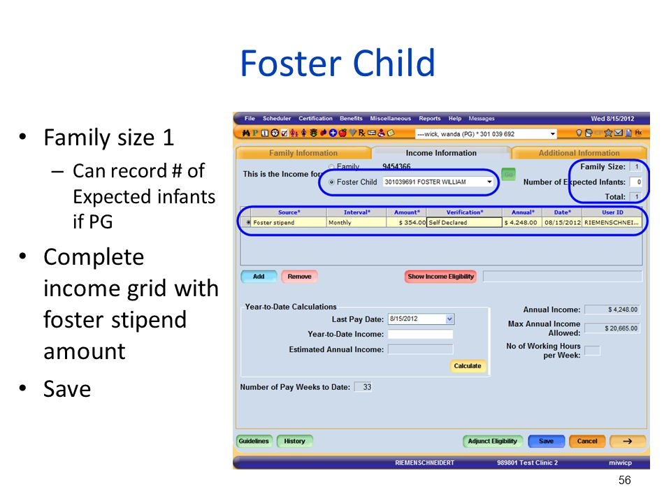 Foster Child Family size 1 – Can record # of Expected infants if PG Complete income grid with foster stipend amount Save 56