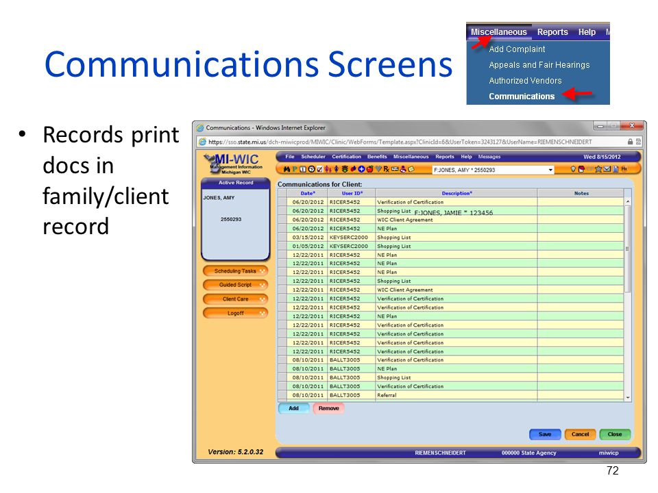 Communications Screens Records print docs in family/client record 72