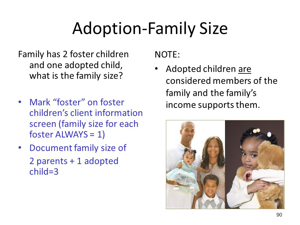 """90 Adoption-Family Size Family has 2 foster children and one adopted child, what is the family size? Mark """"foster"""" on foster children's client informa"""