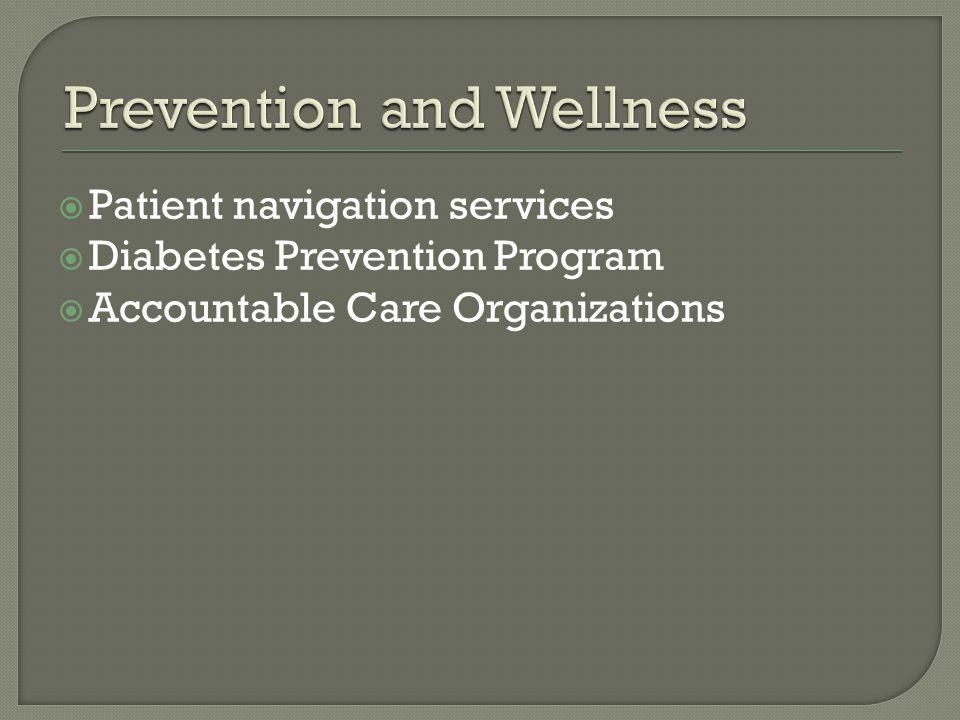  Patient navigation services  Diabetes Prevention Program  Accountable Care Organizations