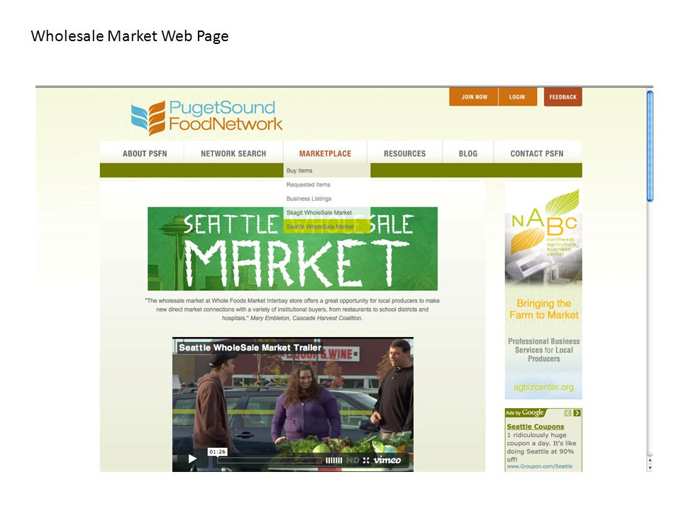 Wholesale Market Web Page