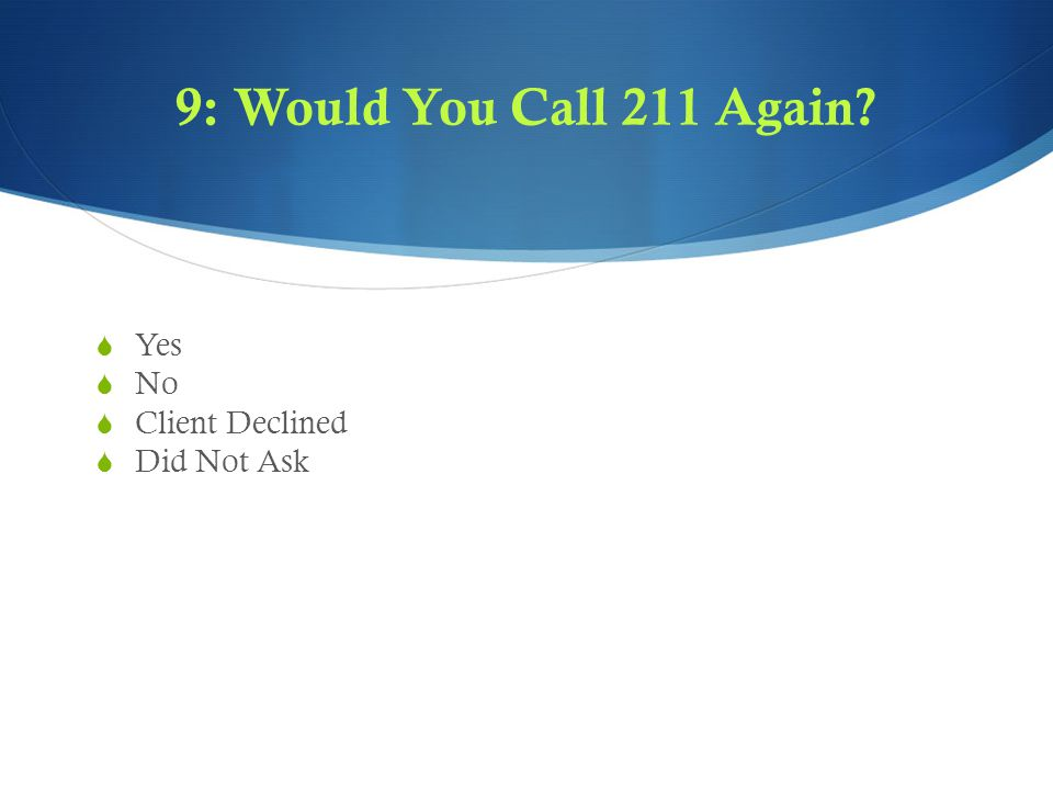 9: Would You Call 211 Again  Yes  No  Client Declined  Did Not Ask