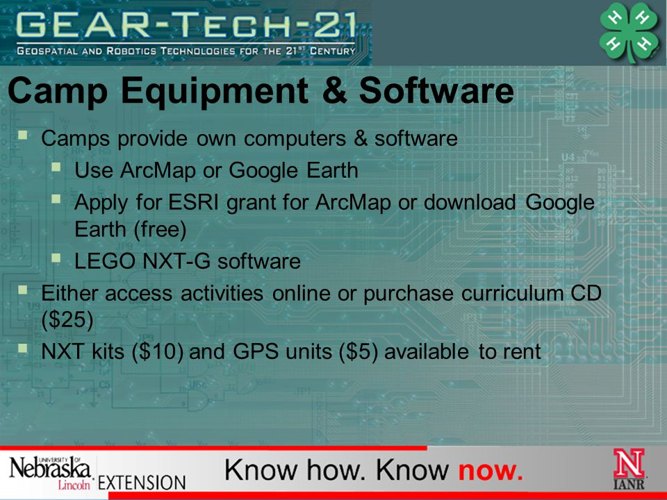 Camp Equipment & Software  Camps provide own computers & software  Use ArcMap or Google Earth  Apply for ESRI grant for ArcMap or download Google Earth (free)  LEGO NXT-G software  Either access activities online or purchase curriculum CD ($25)  NXT kits ($10) and GPS units ($5) available to rent