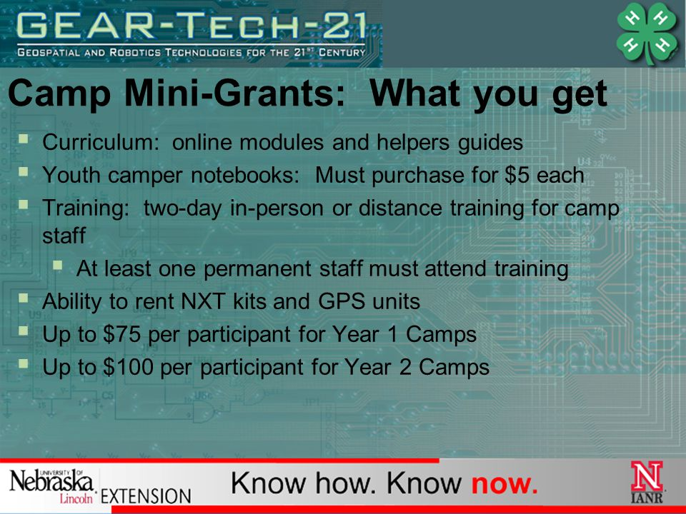 Camp Mini-Grants: What you get  Curriculum: online modules and helpers guides  Youth camper notebooks: Must purchase for $5 each  Training: two-day in-person or distance training for camp staff  At least one permanent staff must attend training  Ability to rent NXT kits and GPS units  Up to $75 per participant for Year 1 Camps  Up to $100 per participant for Year 2 Camps