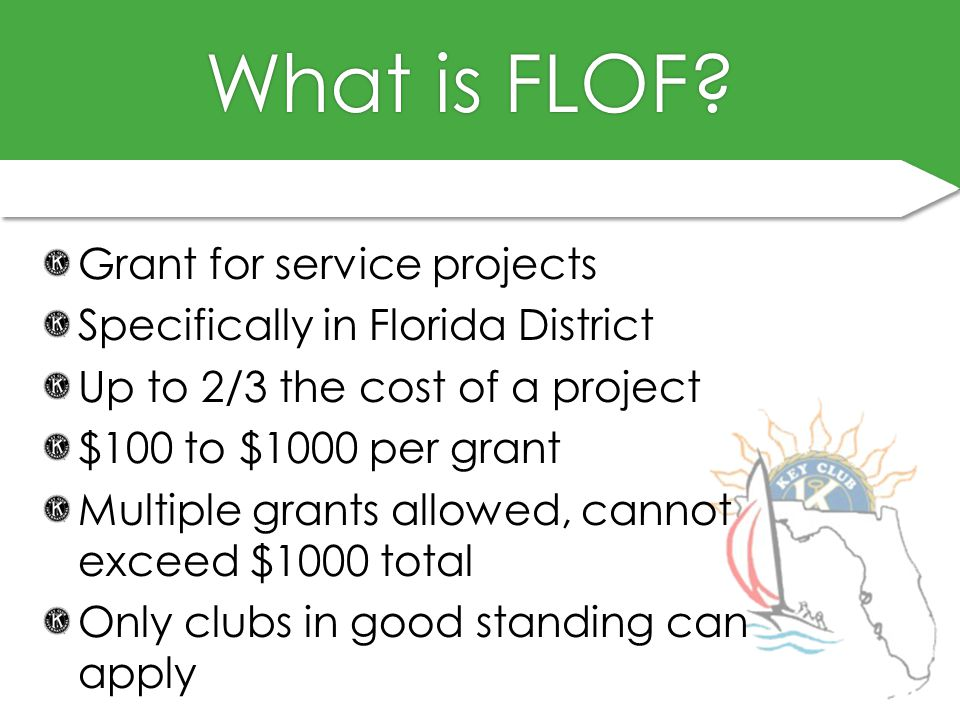 What is FLOF?What is FLOF? Grant for service projects Specifically in Florida District Up to 2/3 the cost of a project $100 to $1000 per grant Multipl