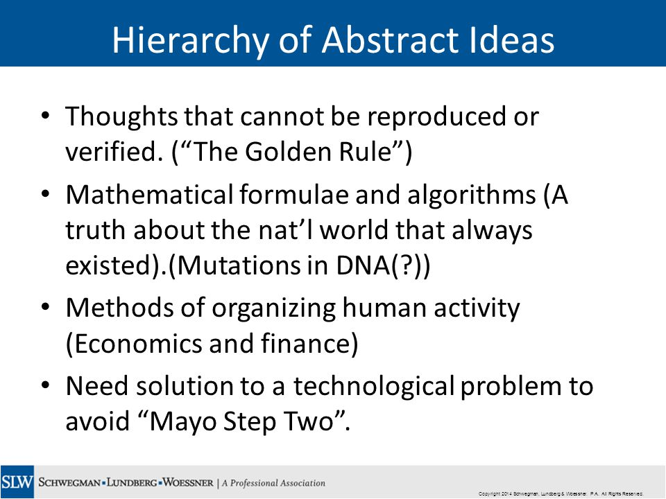 Hierarchy of Abstract Ideas Thoughts that cannot be reproduced or verified.