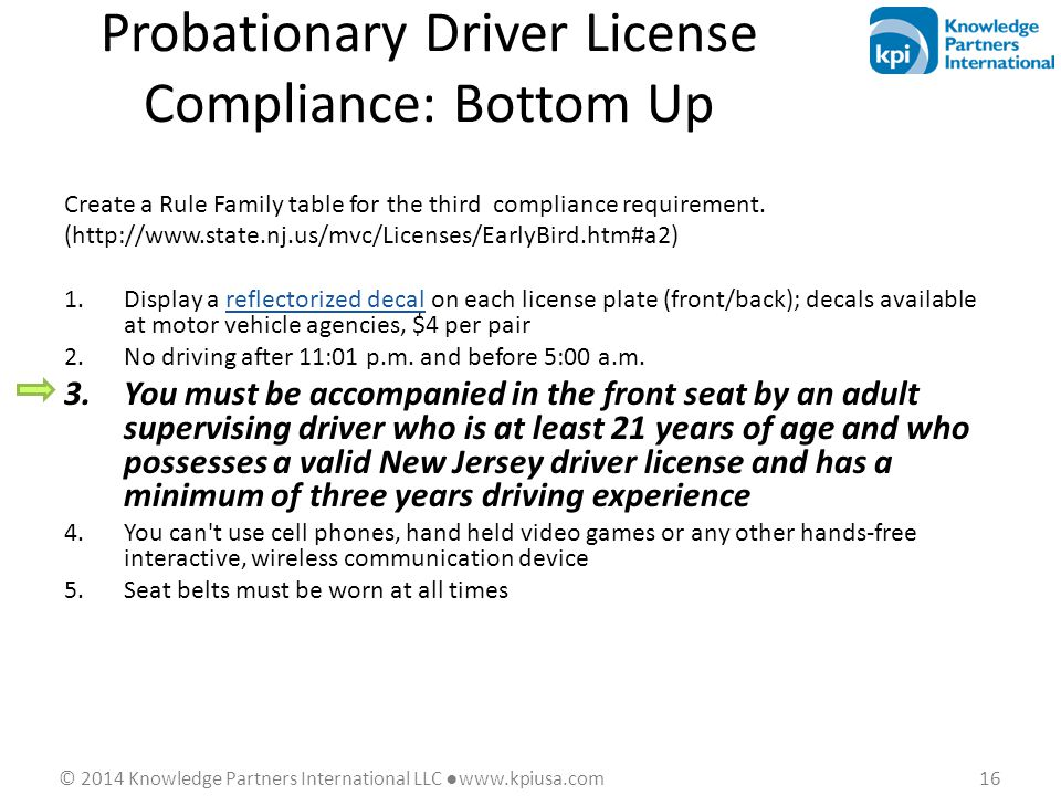 © 2014 Knowledge Partners International LLC ●www.kpiusa.com 16 Probationary Driver License Compliance: Bottom Up Create a Rule Family table for the th