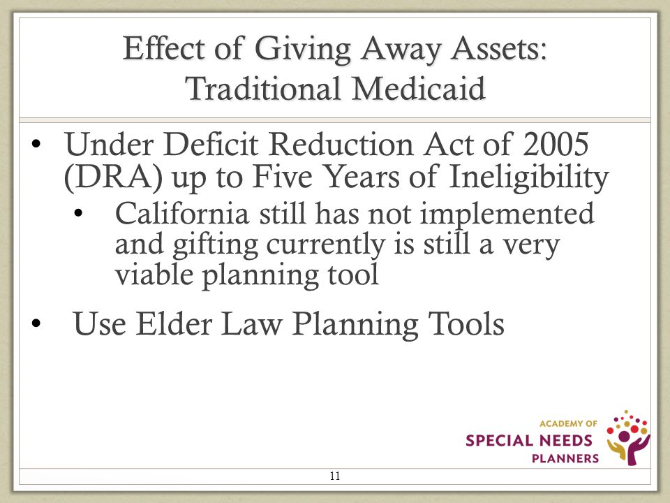 Effect of Giving Away Assets: Traditional Medicaid Under Deficit Reduction Act of 2005 (DRA) up to Five Years of Ineligibility California still has not implemented and gifting currently is still a very viable planning tool Use Elder Law Planning Tools 11