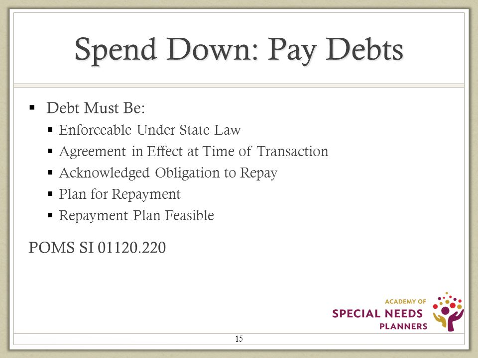 Spend Down: Pay Debts  Debt Must Be:  Enforceable Under State Law  Agreement in Effect at Time of Transaction  Acknowledged Obligation to Repay  Plan for Repayment  Repayment Plan Feasible POMS SI 01120.220 15