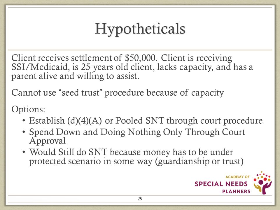 Hypotheticals Client receives settlement of $50,000.