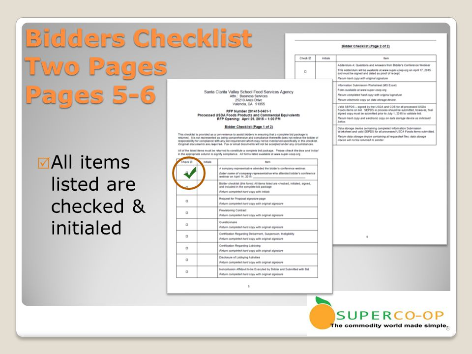 Bidders Checklist Two Pages Pages 5-6  Return completed hard copy with initials 9