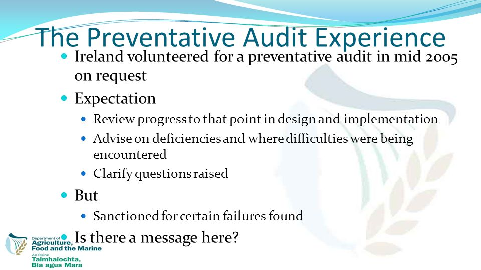 The Preventative Audit Experience Ireland volunteered for a preventative audit in mid 2005 on request Expectation Review progress to that point in des