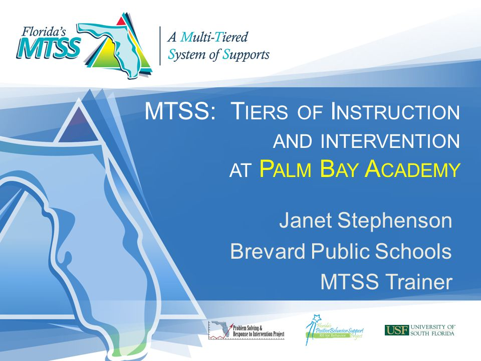 MTSS: T IERS OF I NSTRUCTION AND INTERVENTION AT P ALM B AY A CADEMY Janet Stephenson Brevard Public Schools MTSS Trainer