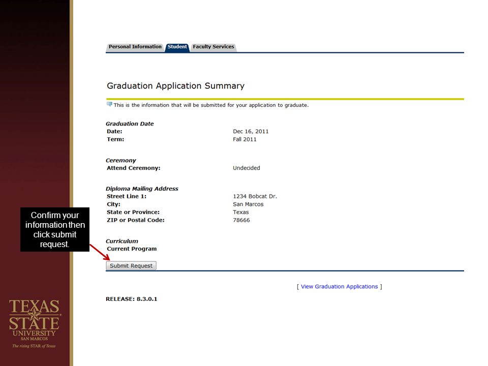 Confirm your information then click submit request.